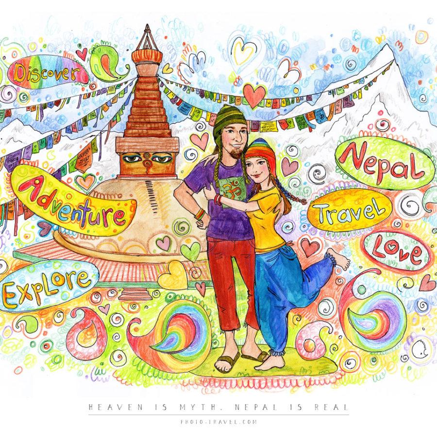 Открытка «HEAVEN IS MYPH, NEPAL IS REAL»